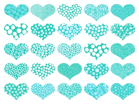 turquoise: Turquoise and green hearts pattern backgrounds Stock Photo