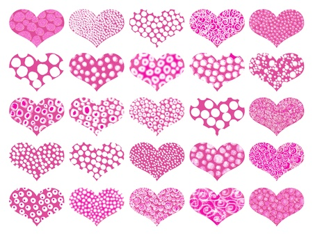 Valentine's isolated hearts background in pinks Stock Photo - 9449241