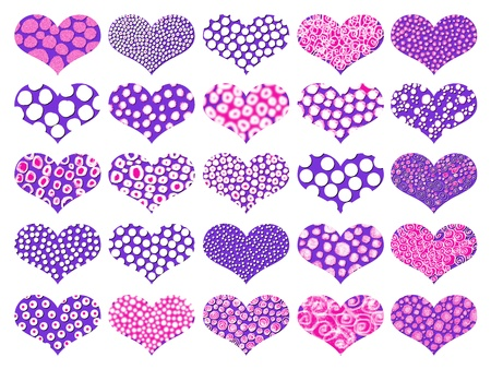 Violet and pink hearts textures set on background photo