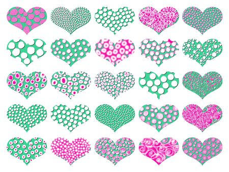 naif: Old style colourful ornamental hearts background