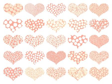 naif: Soft orange isolated hearts background