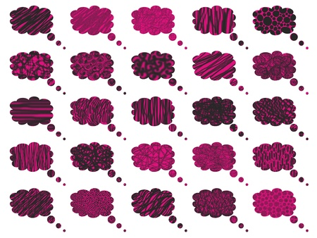 rains: Pink and black isolated on white dreams bubbles balloons textures background Stock Photo