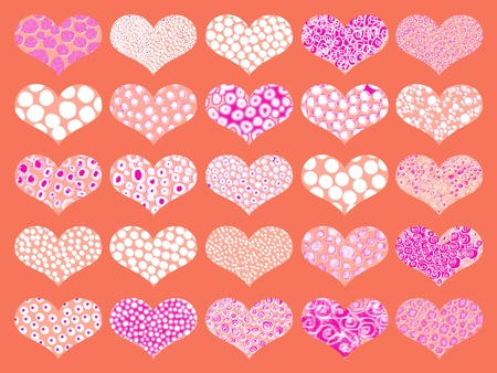 Hearts backgrounds in orange and magenta Stock Photo - 9449258