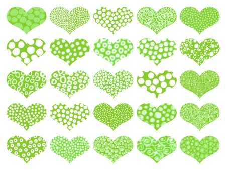 naif: Green juvenile isolated hearts backgrounds