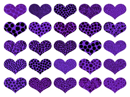 metaphoric: Funky violet isolated hearts backgrounds  Stock Photo