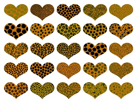 Dark yellow with animal prints isolated hearts background