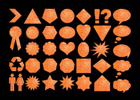 Web or graphic design shapes set in orange photo