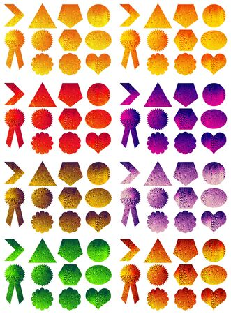 rosettes: Colorful set of labels shapes Stock Photo