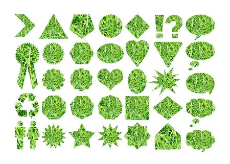 Grass texture in basic labels shapes Stock Photo - 11406390