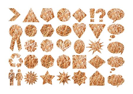 won: Straw texture in label shapes