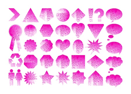 Pink labels set with water drops Stock Photo - 11406497