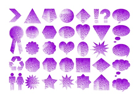 Violet water labels bunch Stock Photo - 11406484
