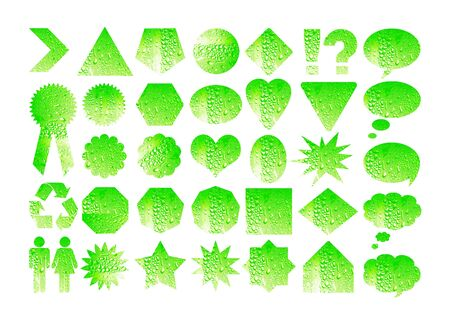 won: Light green set of labels with drops Stock Photo