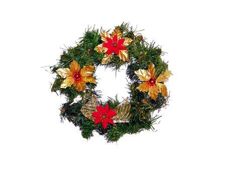 corona navidad: Rojo, verde y oro de la corona de Navidad Foto de archivo