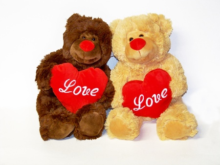 tender tenderness: Couple of teddy bears with hearts