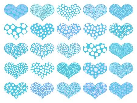 ball point: Light blue textured hearts