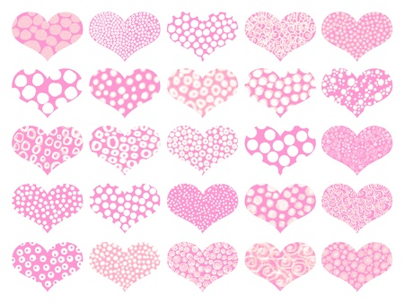 basic shapes: Pink hearts textures set