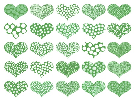 naif: Green romantic hearts with different textures Stock Photo