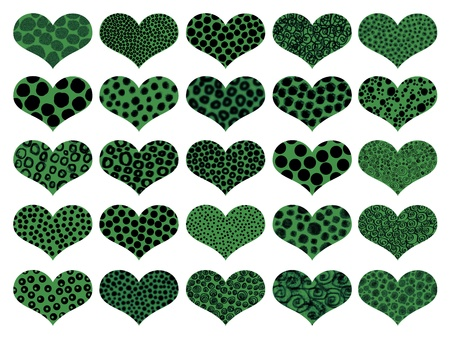 Animal textures in green hearts pattern photo