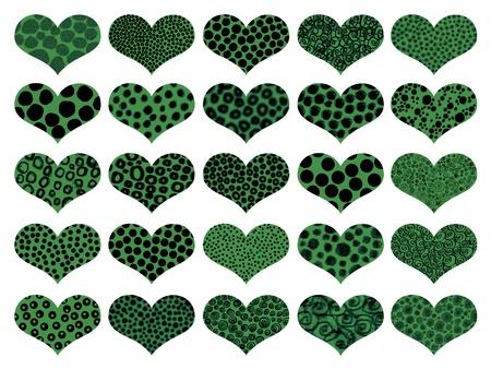 naif: Animal textures in green hearts pattern
