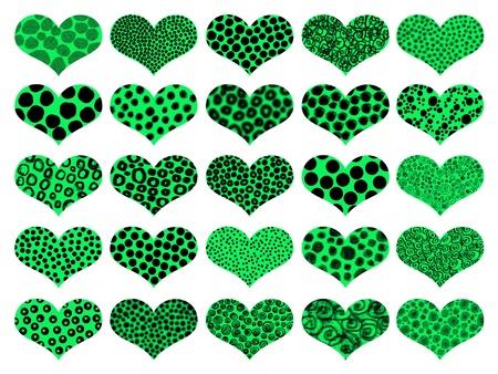 Brilliant light green animal prints textures hearts photo