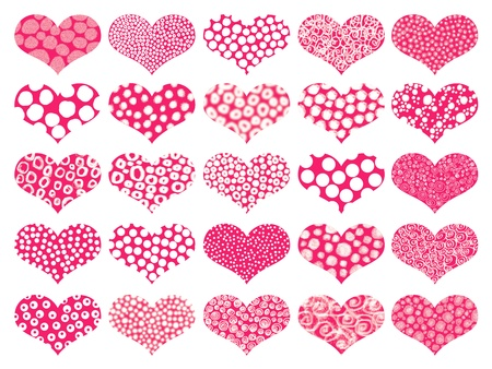 Isolated hearts with textures in pattern in red and white photo