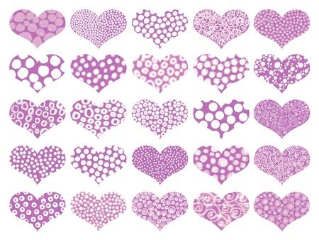 universal love: Corazones aislados de color p�rpura con texturas en el patr�n