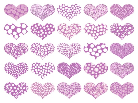 Isolated purple hearts with textures in pattern photo