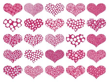 Romantic set of textured isolated hearts photo