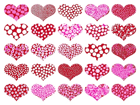 Isolated hearts pattern in red a pink photo