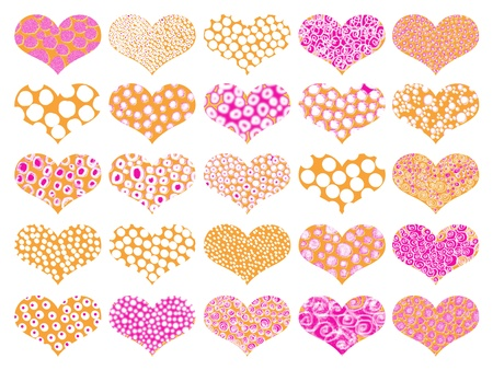 naif: Set of textures in pink and orange hearts