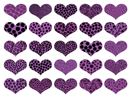 Animalprint textures in purple hearts pattern photo