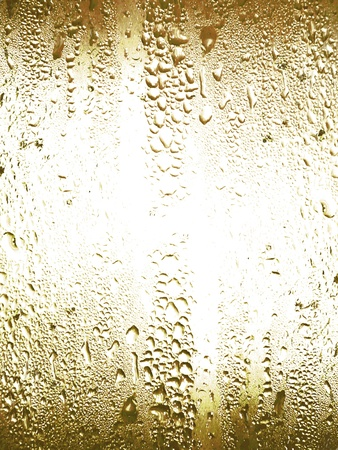Cold glass surface with water condensation texture Imagens