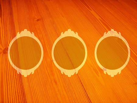 yello: Circular frames with old wood texture in oranges Stock Photo