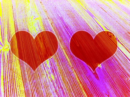 Two Funky Colorful Frames With Heart Shape On Wood Stock Photo