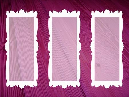 transparency color: Three white femenine frames on purple wood