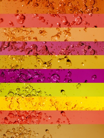 colortherapy: Background of color lines of colored water in warm tones. Aura-soma Stock Photo