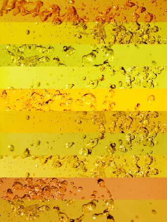 Vibrant yellow funny background with water drops in movement Stock Photo