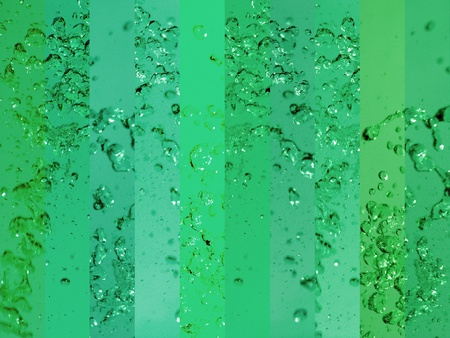 solarized: Energetic solarized water in green background Stock Photo