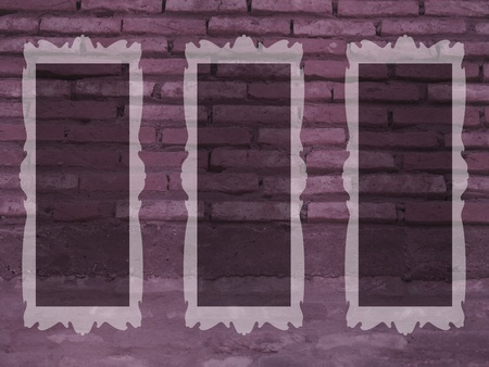 Three romantic vintage frames on a brick wall in soft desaturated purple photo