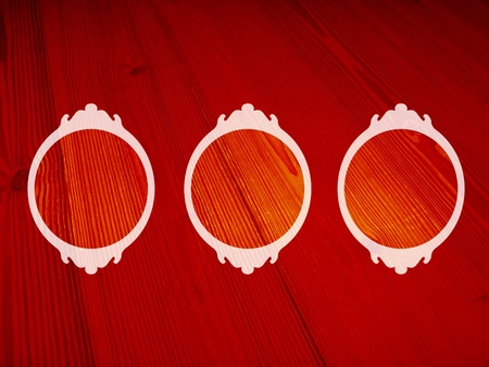 White vintage frames on red wood backgrounds photo