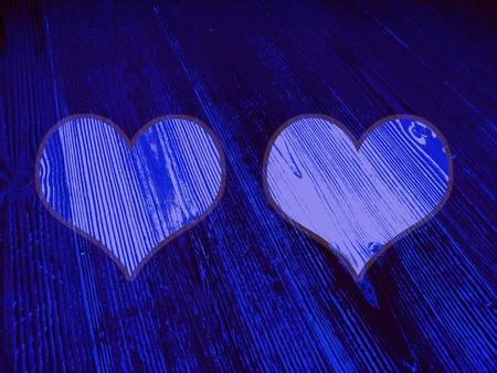 Background with two hearts frames in blues photo