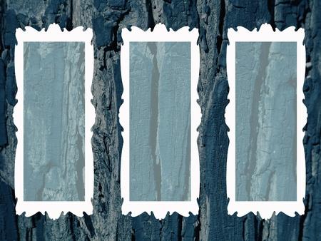 sobrio: Tres marcos blancos sobrios �poca en el fondo de madera r�stica