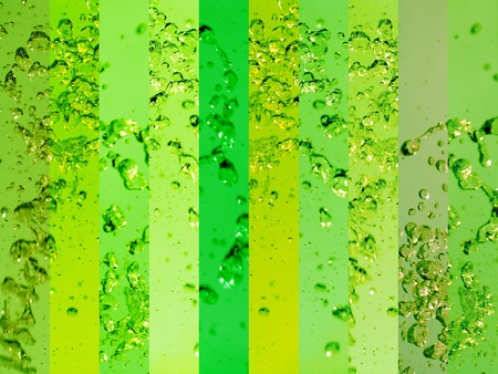 solarized: Coloring and energizing water with green glass backgrounds Stock Photo