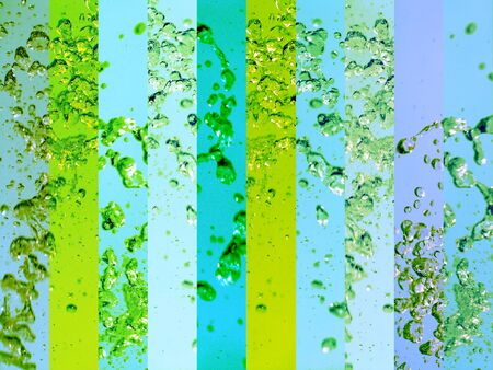 solarized: Water splash background in vertical banners with drops in light blue and yellowish green Stock Photo