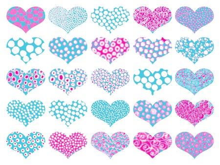 magentas: Isolated naif hearts with textures in pattern in aqua and pink
