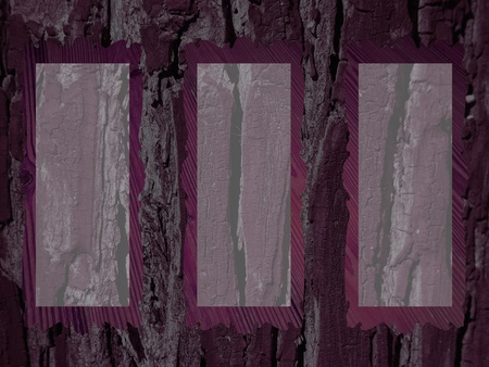 Sober rectangular dark purple empty frames on rustic wood background photo