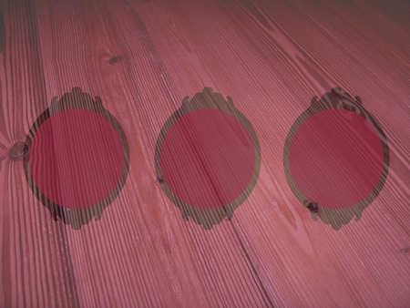 Old pink backgrounds of empty circular frames of vintage wood with thin lines photo