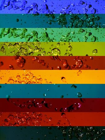 solarize: Multicolored dark waters banners backgrounds with macro drops