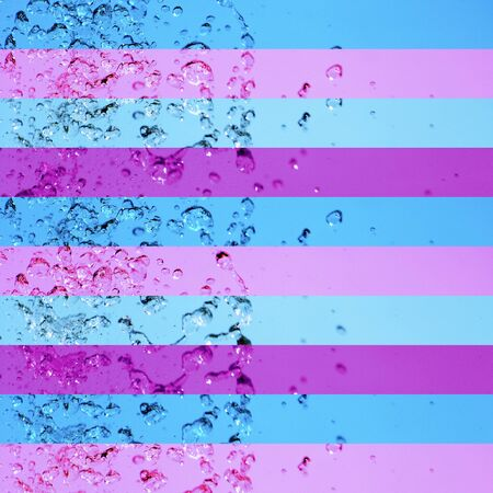 instrospection: Light blue and violet lines pattern whit fresh water drops